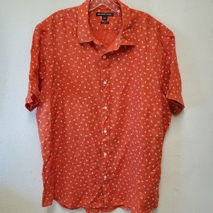 Michael Kors Classic Fit orange short sleeve shirt